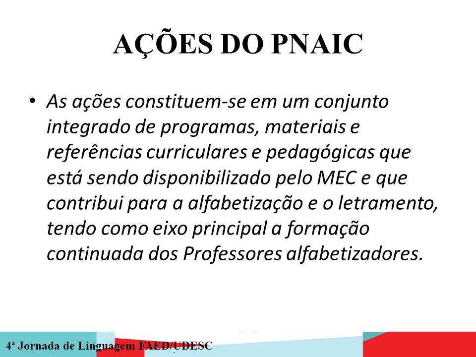 4ª Jornada de Linguagem FAED/UDESC AÇÕES DO PNAIC As ações constituem-se em um conjunto integrado de programas, materiais e referências curriculares e
