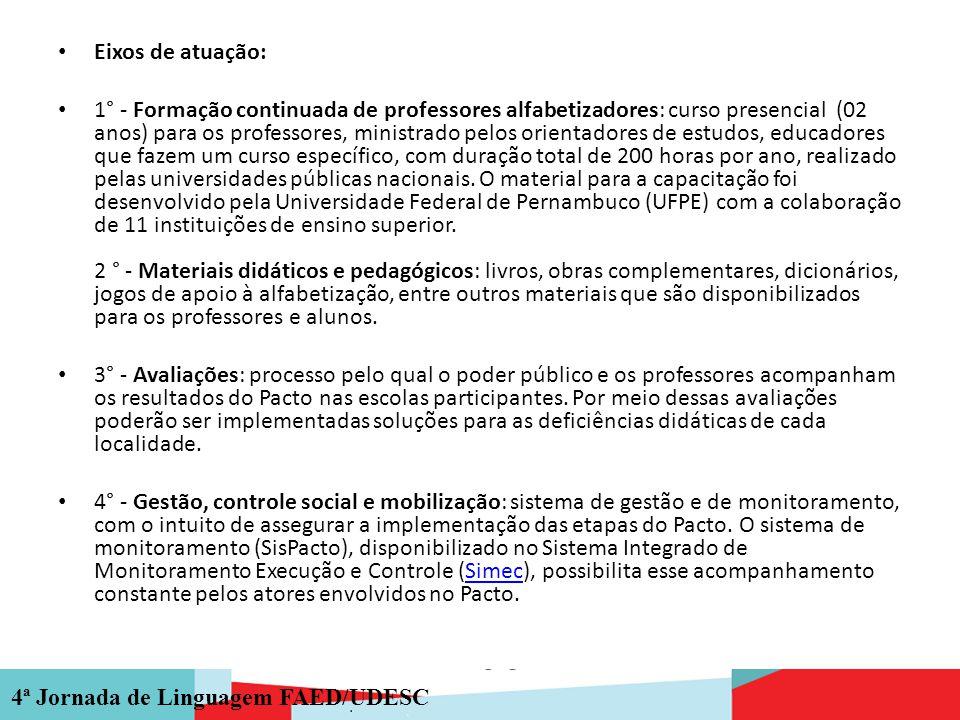 4ª Jornada de Linguagem FAED/UDESC Eixos de atuação: 1° - Formação continuada de professores alfabetizadores: curso presencial (02 anos) para os profe