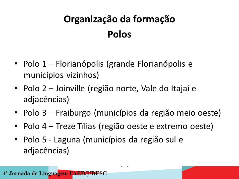 4ª Jornada de Linguagem FAED/UDESC Organização da formação Polos Polo 1 – Florianópolis (grande Florianópolis e municípios vizinhos) Polo 2 – Joinvill
