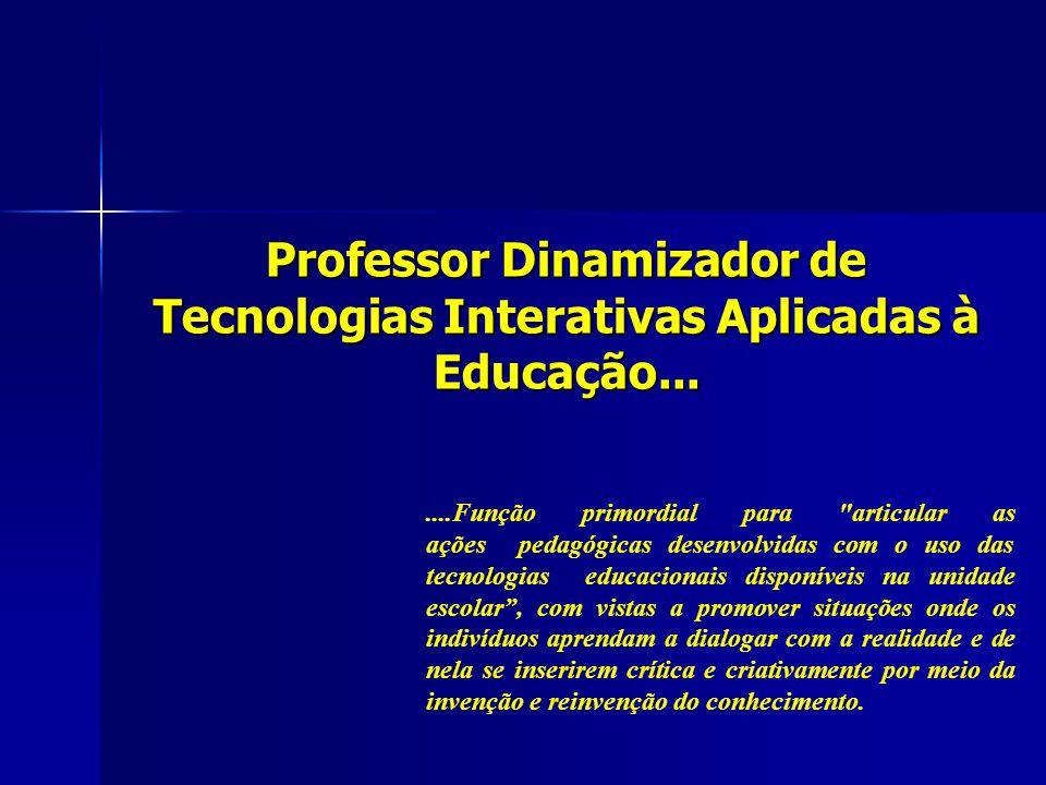 Professor Dinamizador de Tecnologias Interativas Aplicadas à Educação.......Função primordial para