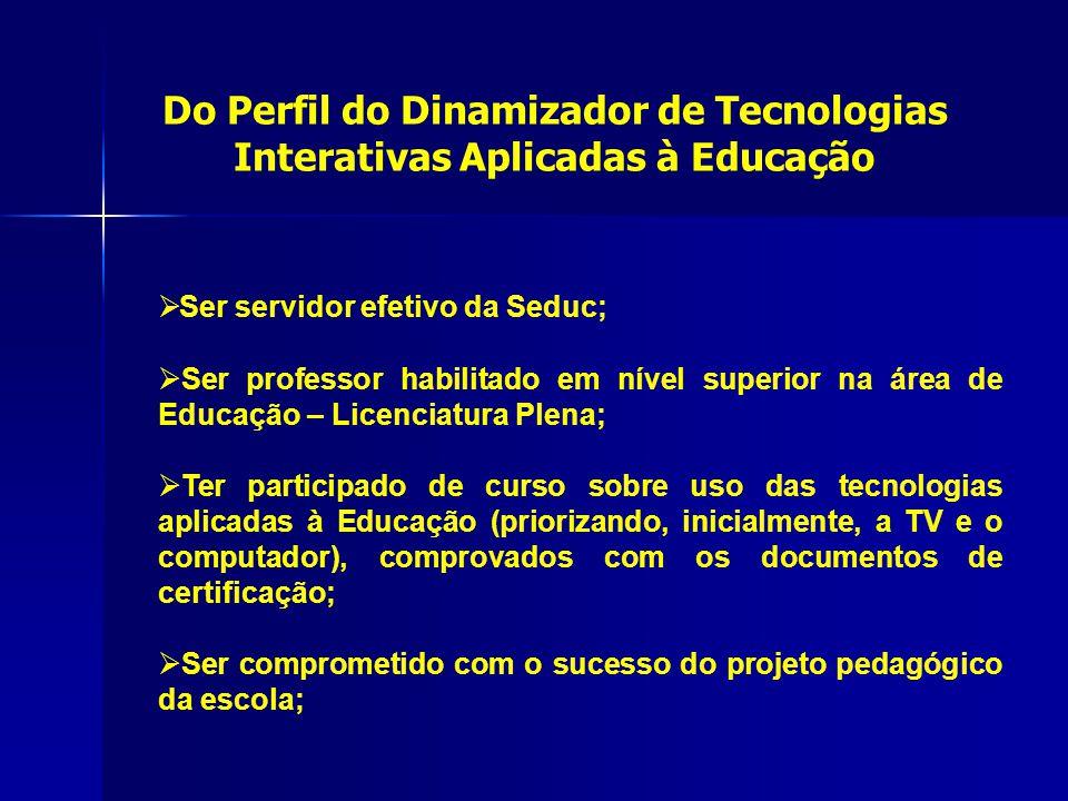  Ser servidor efetivo da Seduc;  Ser professor habilitado em nível superior na área de Educação – Licenciatura Plena;  Ter participado de curso sob