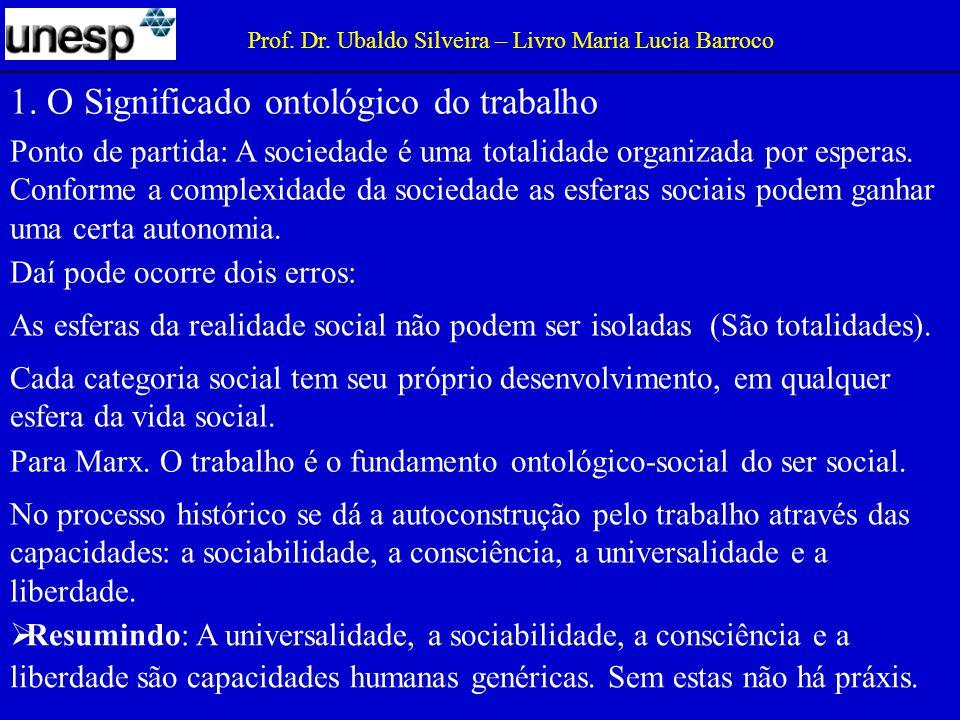1.O Significado ontológico do trabalho Prof. Dr.