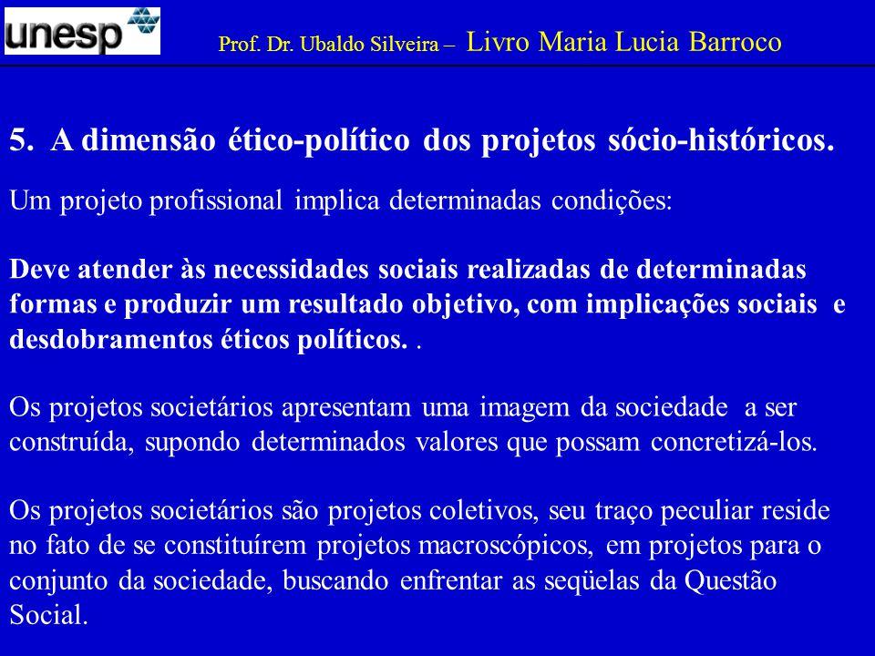 5.A dimensão ético-político dos projetos sócio-históricos.