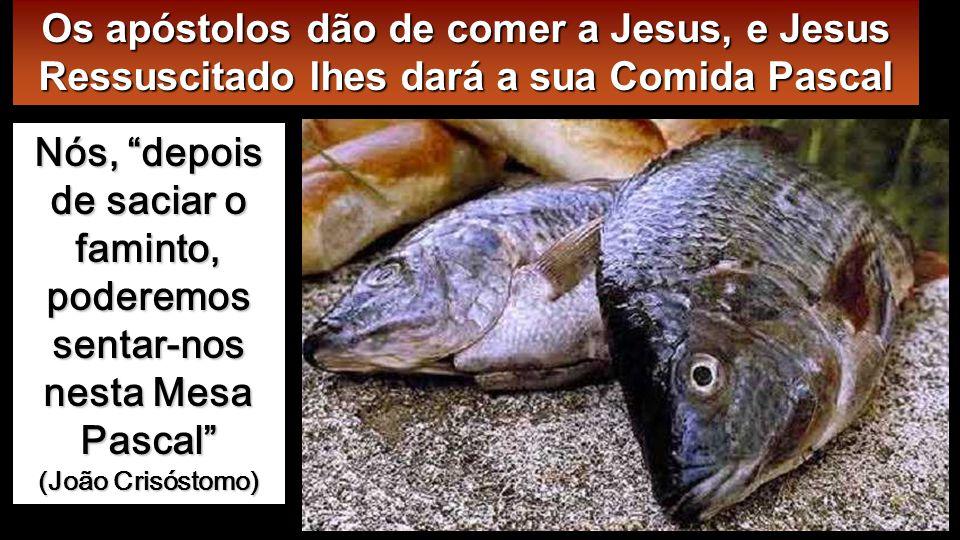 E como eles, na sua alegria e admiração, não queriam ainda acreditar, perguntou-lhes: «Tendes aí alguma coisa para comer » Deram-Lhe uma posta de peixe assado, que Ele tomou e começou a comer diante deles.