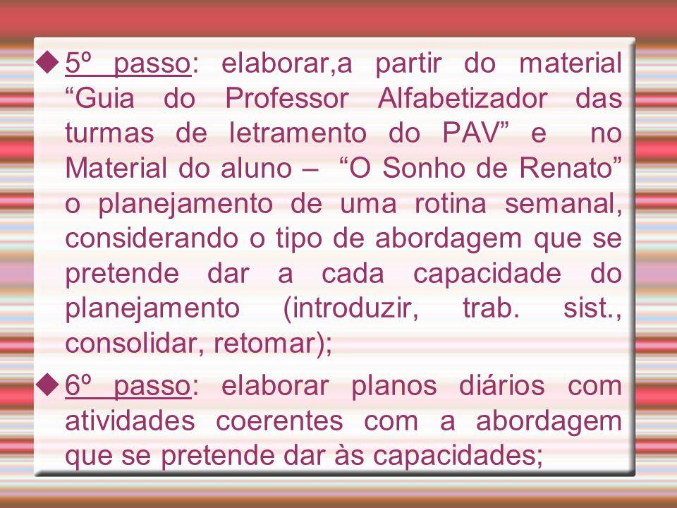 """ 5º passo: elaborar,a partir do material """"Guia do Professor Alfabetizador das turmas de letramento do PAV"""" e no Material do aluno – """"O Sonho de Renat"""