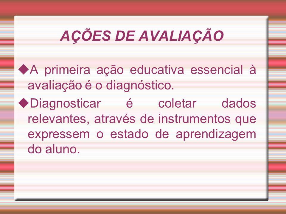 AÇÕES DE AVALIAÇÃO  A primeira ação educativa essencial à avaliação é o diagnóstico.  Diagnosticar é coletar dados relevantes, através de instrument