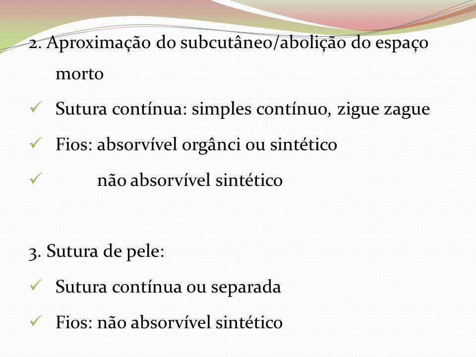 2. Aproximação do subcutâneo/abolição do espaço morto Sutura contínua: simples contínuo, zigue zague Fios: absorvível orgânci ou sintético não absorví
