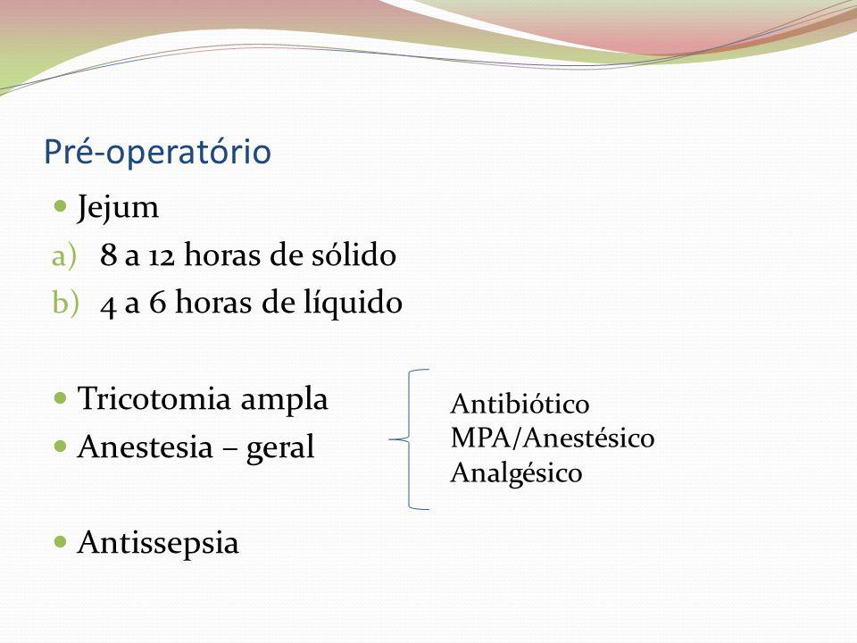 Pré-operatório Jejum a) 8 a 12 horas de sólido b) 4 a 6 horas de líquido Tricotomia ampla Anestesia – geral Antissepsia Antibiótico MPA/Anestésico Ana