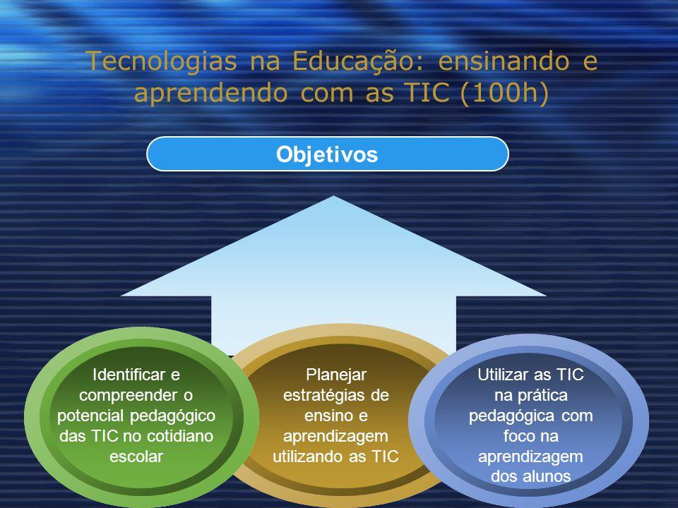 Objetivos Tecnologias na Educação: ensinando e aprendendo com as TIC (100h) Identificar e compreender o potencial pedagógico das TIC no cotidiano escolar Planejar estratégias de ensino e aprendizagem utilizando as TIC Utilizar as TIC na prática pedagógica com foco na aprendizagem dos alunos