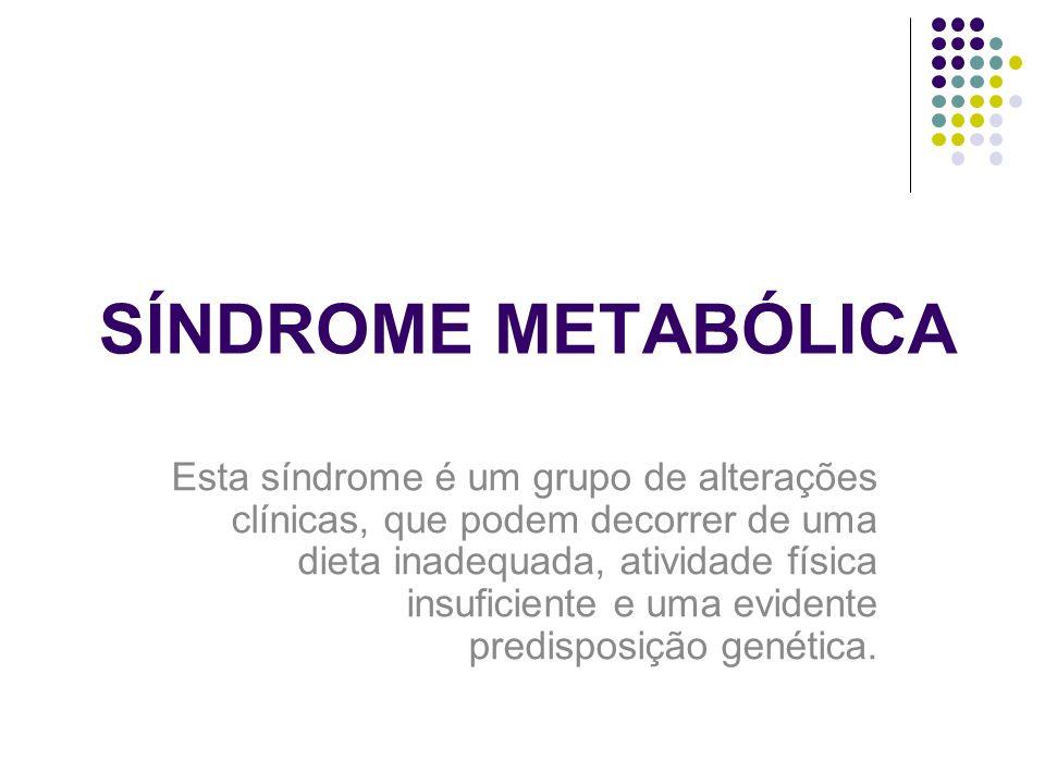 SÍNDROME METABÓLICA Esta síndrome é um grupo de alterações clínicas, que podem decorrer de uma dieta inadequada, atividade física insuficiente e uma evidente predisposição genética.
