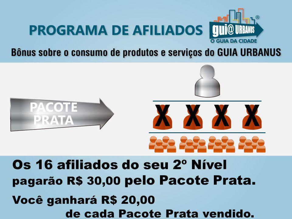 Os 16 afiliados do seu 2º Nível pagarão R$ 30,00 pelo Pacote Prata.