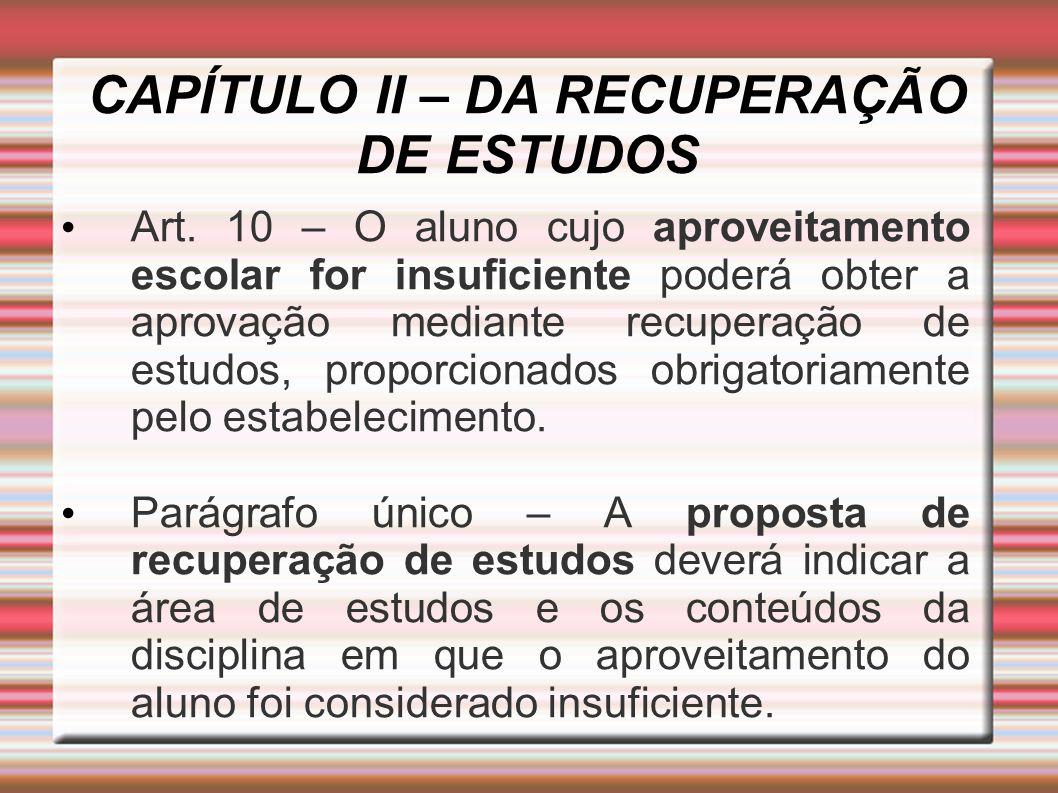 CAPÍTULO II – DA RECUPERAÇÃO DE ESTUDOS Art.