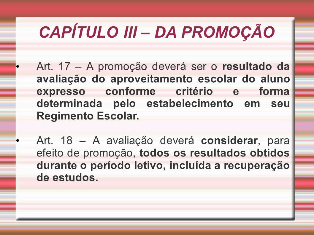 CAPÍTULO III – DA PROMOÇÃO Art.