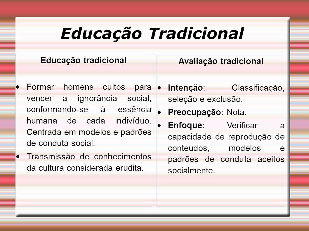 Educação Tradicional Educação tradicional Formar homens cultos para vencer a ignorância social, conformando-se à essência humana de cada indivíduo.