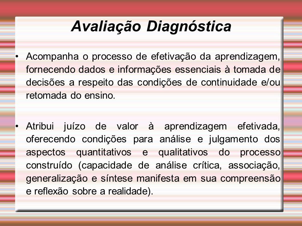 Avaliação Diagnóstica Acompanha o processo de efetivação da aprendizagem, fornecendo dados e informações essenciais à tomada de decisões a respeito das condições de continuidade e/ou retomada do ensino.