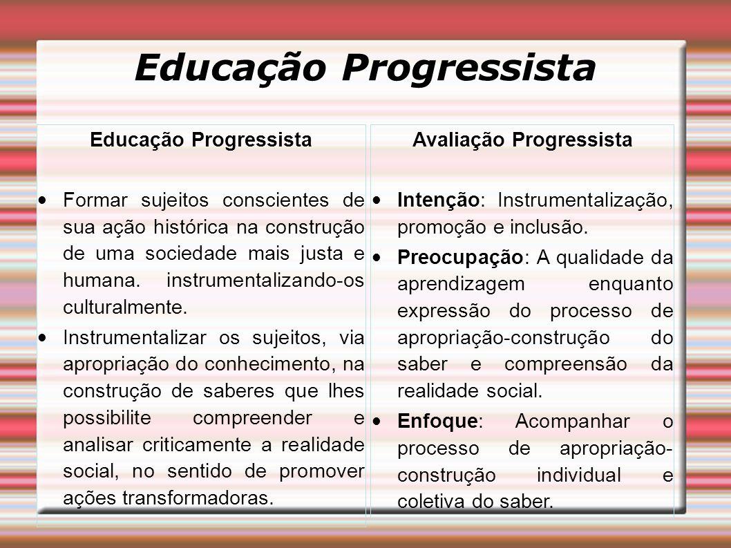 Educação Progressista Formar sujeitos conscientes de sua ação histórica na construção de uma sociedade mais justa e humana.