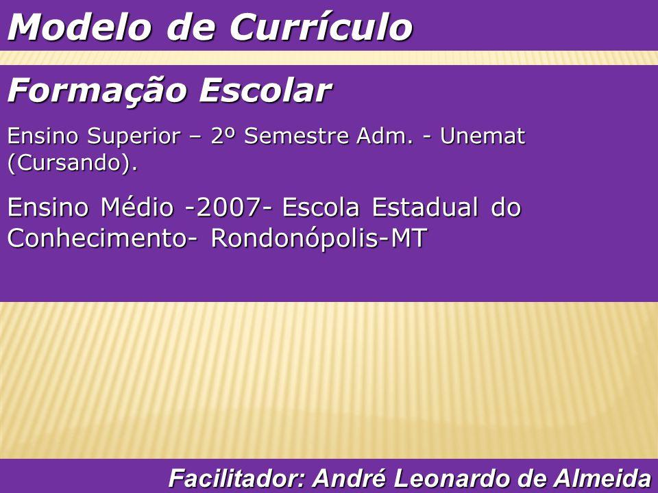 Modelo de Currículo Formação Complementar Facilitador: André Leonardo de Almeida