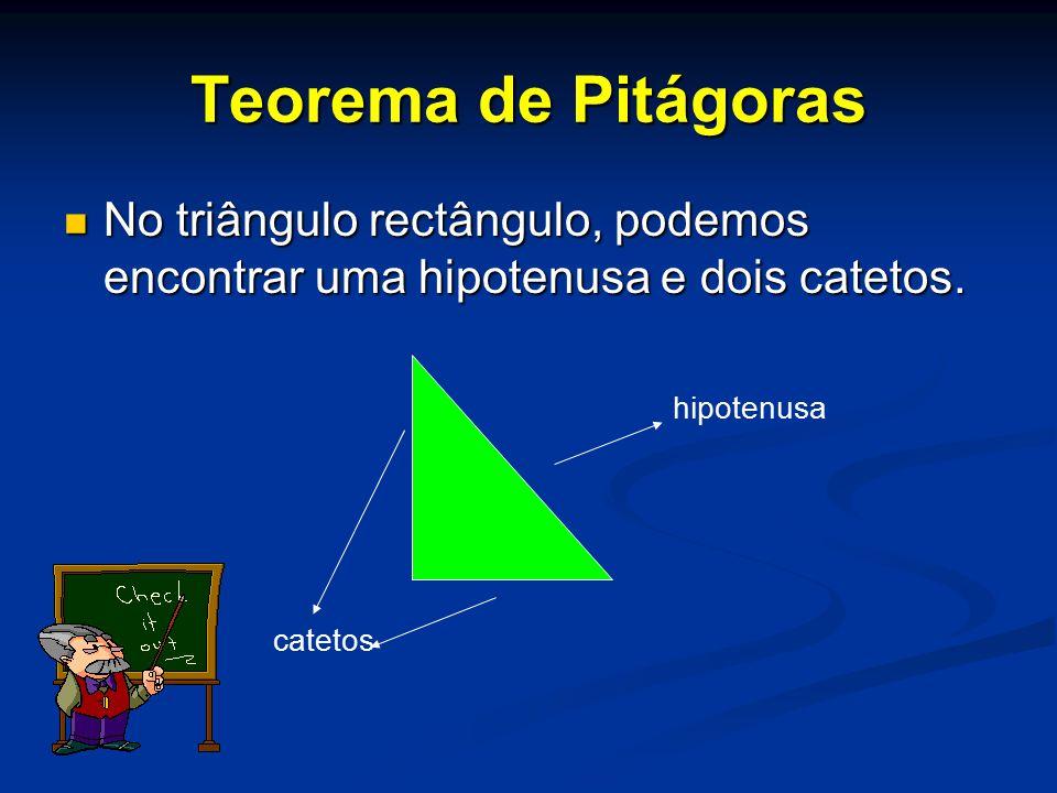 No triângulo rectângulo, podemos encontrar uma hipotenusa e dois catetos. hipotenusa catetos