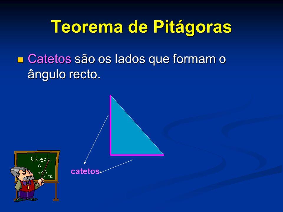 Teorema de Pitágoras Catetos são os lados que formam o ângulo recto. catetos