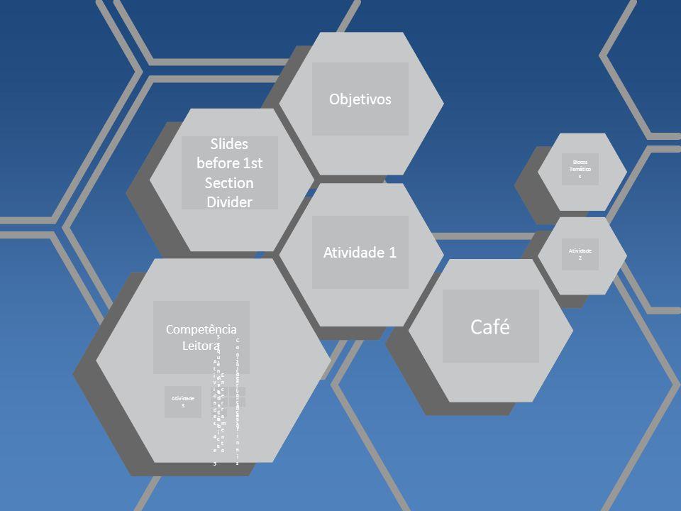 Slides before 1st Section Divider Atividade 1 Objetivos Competência Leitora Café Atividade 3 Blocos Temático s Atividade 2 SequênciaDidáticaSequênciaD