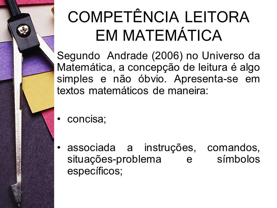 COMPETÊNCIA LEITORA EM MATEMÁTICA Segundo Andrade (2006) no Universo da Matemática, a concepção de leitura é algo simples e não óbvio. Apresenta-se em