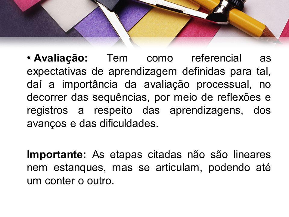 Avaliação: Tem como referencial as expectativas de aprendizagem definidas para tal, daí a importância da avaliação processual, no decorrer das sequênc