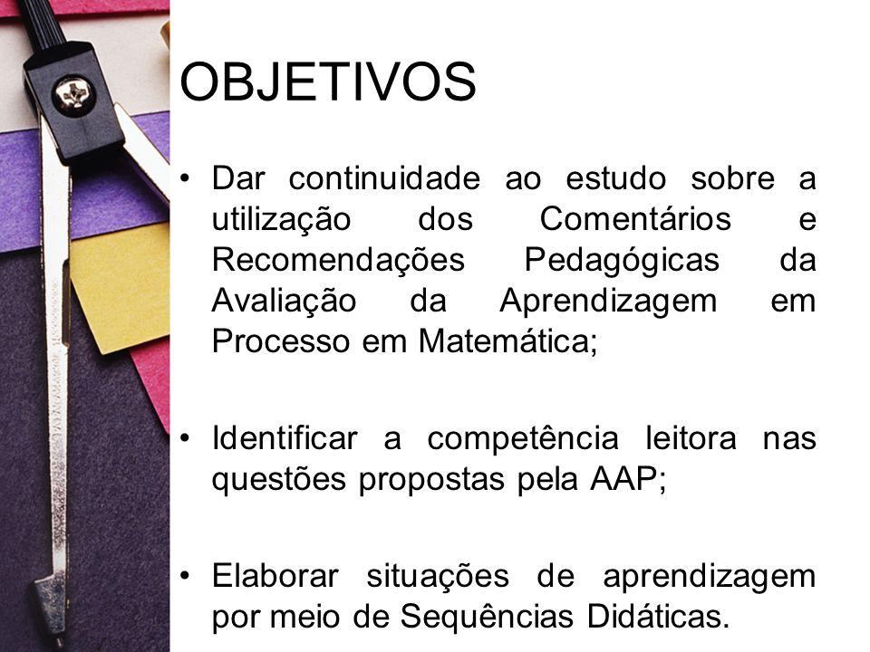 OBJETIVOS Dar continuidade ao estudo sobre a utilização dos Comentários e Recomendações Pedagógicas da Avaliação da Aprendizagem em Processo em Matemá