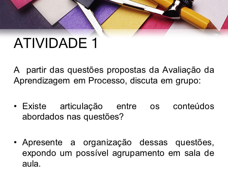 ATIVIDADE 1 A partir das questões propostas da Avaliação da Aprendizagem em Processo, discuta em grupo: Existe articulação entre os conteúdos abordado