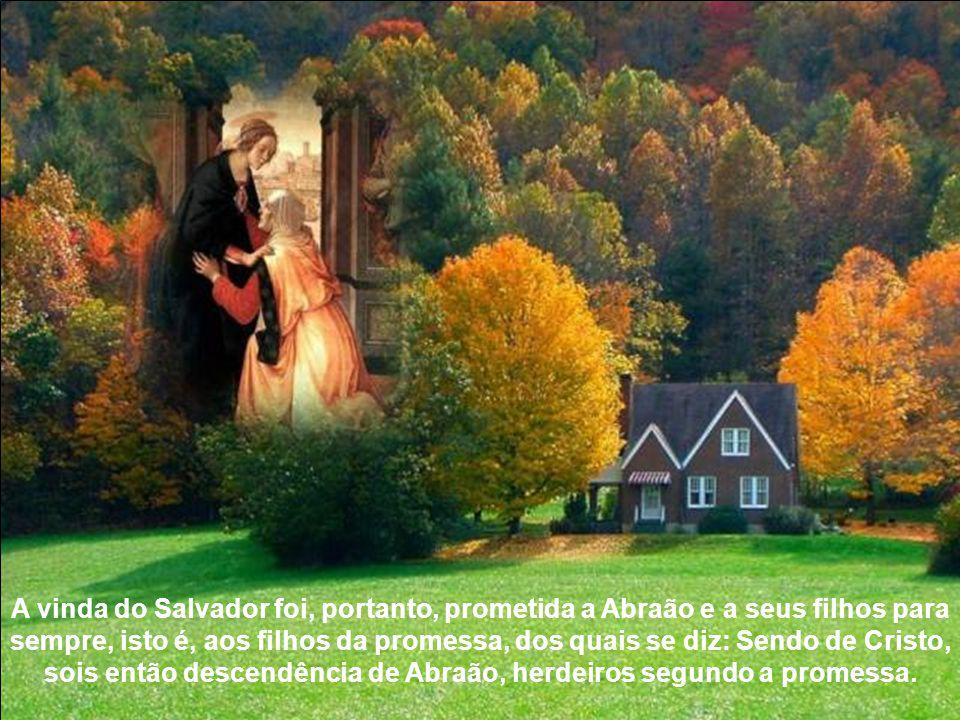 A vinda do Salvador foi, portanto, prometida a Abraão e a seus filhos para sempre, isto é, aos filhos da promessa, dos quais se diz: Sendo de Cristo, sois então descendência de Abraão, herdeiros segundo a promessa.