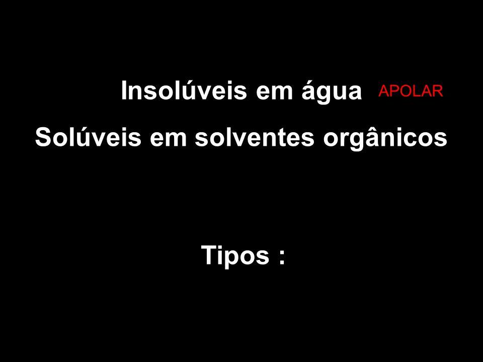 Insolúveis em água Solúveis em solventes orgânicos Tipos : a APOLAR