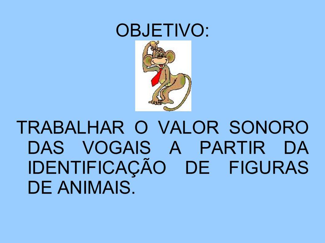 OBJETIVO: TRABALHAR O VALOR SONORO DAS VOGAIS A PARTIR DA IDENTIFICAÇÃO DE FIGURAS DE ANIMAIS.
