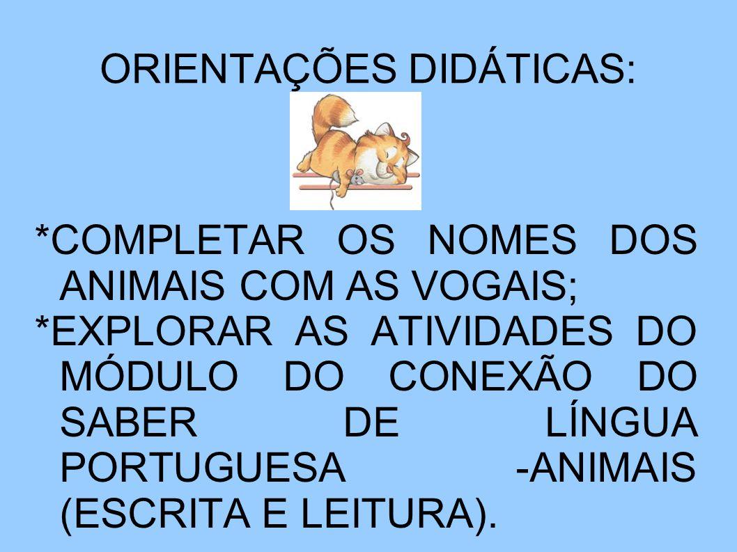 ORIENTAÇÕES DIDÁTICAS: *COMPLETAR OS NOMES DOS ANIMAIS COM AS VOGAIS; *EXPLORAR AS ATIVIDADES DO MÓDULO DO CONEXÃO DO SABER DE LÍNGUA PORTUGUESA -ANIMAIS (ESCRITA E LEITURA).