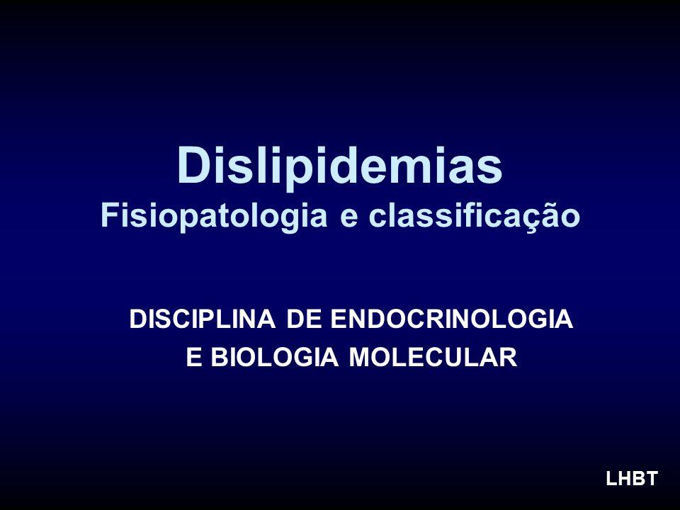 Dislipidemias Fisiopatologia e classificação DISCIPLINA DE ENDOCRINOLOGIA E BIOLOGIA MOLECULAR LHBT