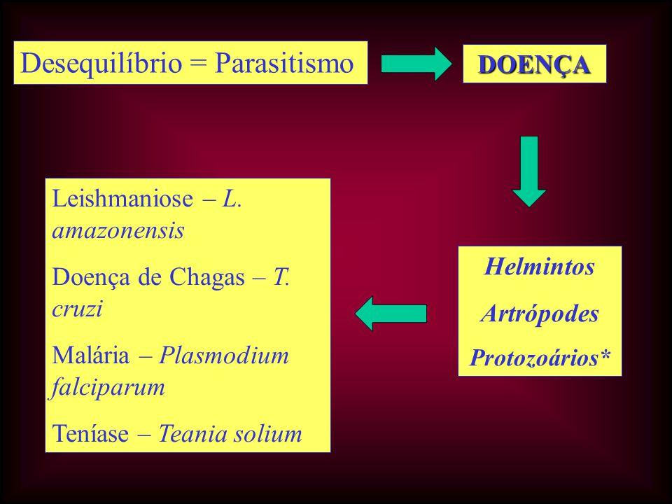 Desequilíbrio = Parasitismo DOENÇA Leishmaniose – L. amazonensis Doença de Chagas – T. cruzi Malária – Plasmodium falciparum Teníase – Teania solium H