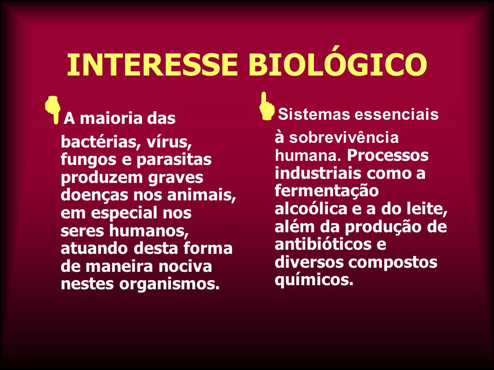 INTERESSE BIOLÓGICO  A maioria das bactérias, vírus, fungos e parasitas produzem graves doenças nos animais, em especial nos seres humanos, atuando desta forma de maneira nociva nestes organismos.
