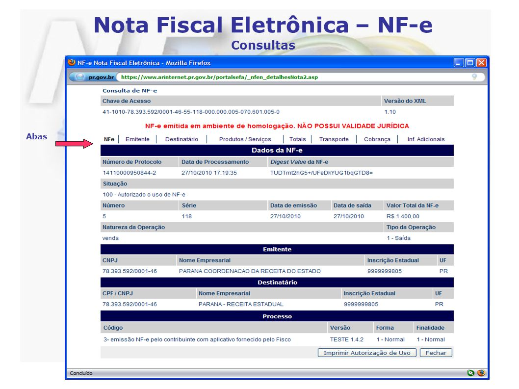 Nota Fiscal Eletrônica – NF-e Consultas Abas