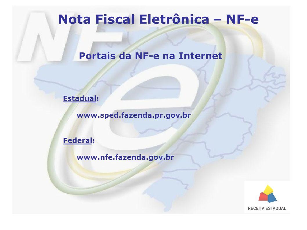 Nota Fiscal Eletrônica – NF-e Portais da NF-e na Internet Estadual: www.sped.fazenda.pr.gov.br Federal: www.nfe.fazenda.gov.br