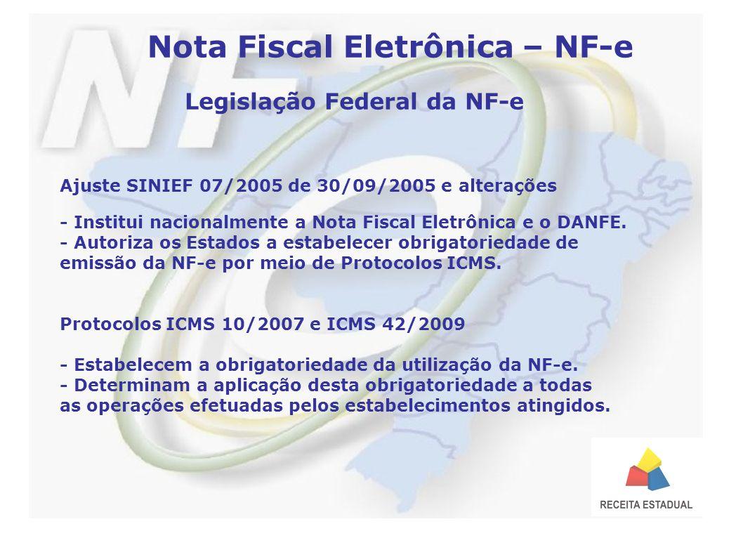 Nota Fiscal Eletrônica – NF-e Legislação Federal da NF-e Ajuste SINIEF 07/2005 de 30/09/2005 e alterações - Institui nacionalmente a Nota Fiscal Eletrônica e o DANFE.