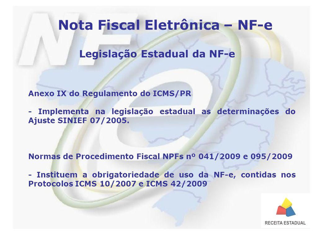 Nota Fiscal Eletrônica – NF-e Legislação Estadual da NF-e Anexo IX do Regulamento do ICMS/PR - Implementa na legislação estadual as determinações do Ajuste SINIEF 07/2005.