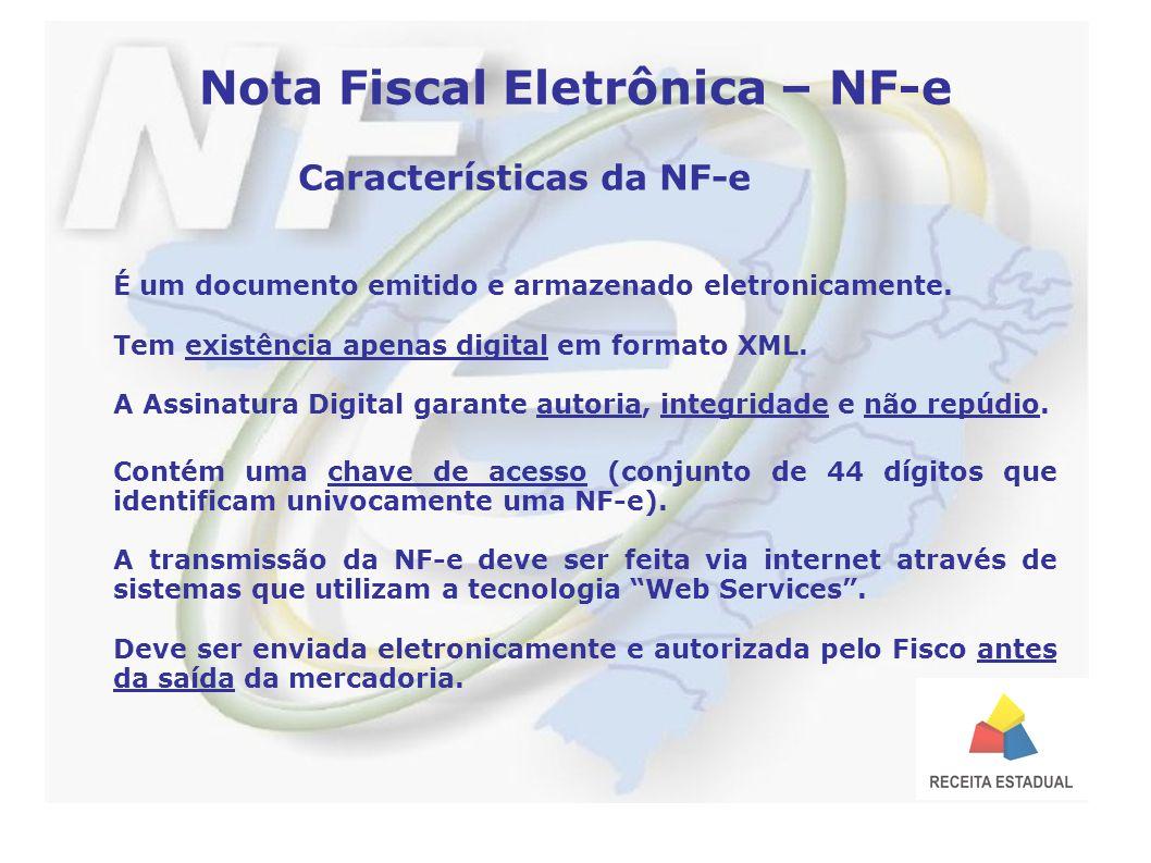 Nota Fiscal Eletrônica – NF-e Características da NF-e É um documento emitido e armazenado eletronicamente.