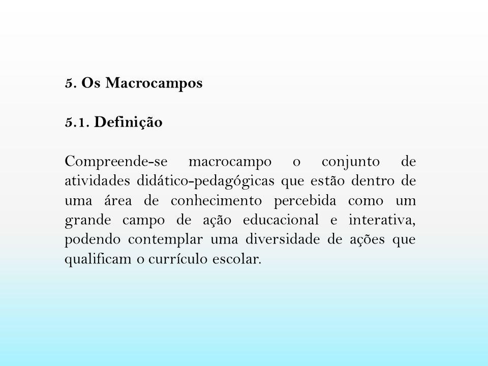 5. Os Macrocampos 5.1. Definição Compreende-se macrocampo o conjunto de atividades didático-pedagógicas que estão dentro de uma área de conhecimento p