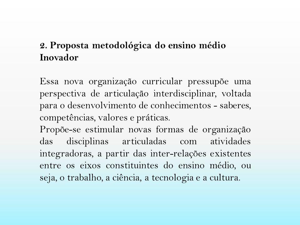 2. Proposta metodológica do ensino médio Inovador Essa nova organização curricular pressupõe uma perspectiva de articulação interdisciplinar, voltada