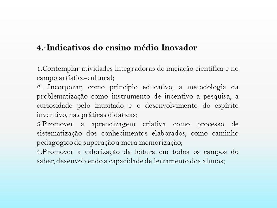 4. · Indicativos do ensino médio Inovador 1.Contemplar atividades integradoras de iniciação científica e no campo artístico-cultural; 2. Incorporar, c