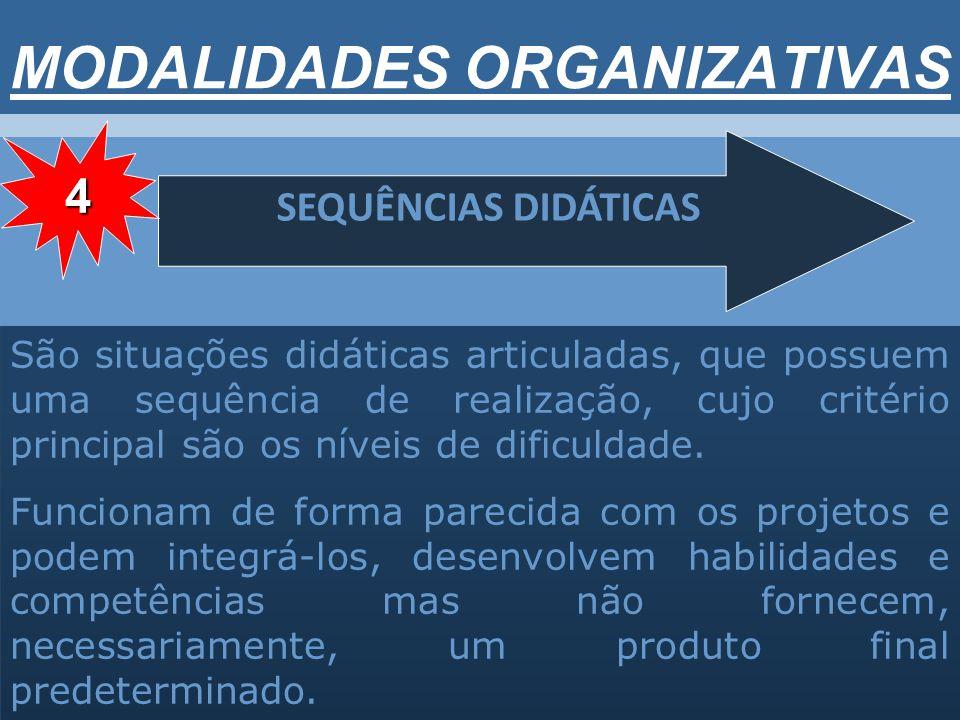 MODALIDADES ORGANIZATIVAS SEQUÊNCIAS DIDÁTICAS São situações didáticas articuladas, que possuem uma sequência de realização, cujo critério principal são os níveis de dificuldade.