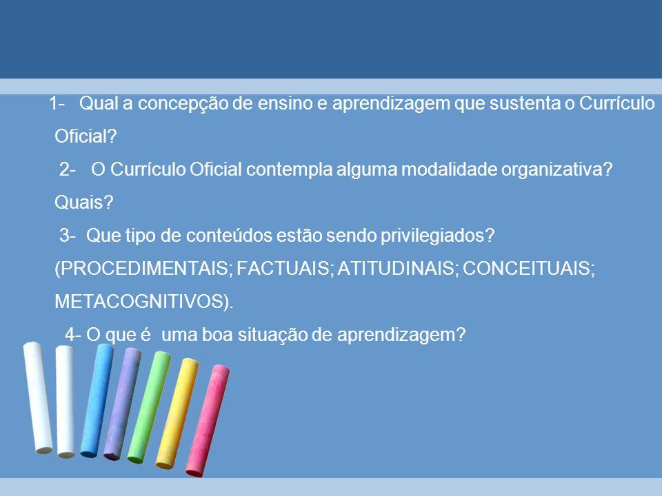 1- Qual a concepção de ensino e aprendizagem que sustenta o Currículo Oficial? 2- O Currículo Oficial contempla alguma modalidade organizativa? Quais?