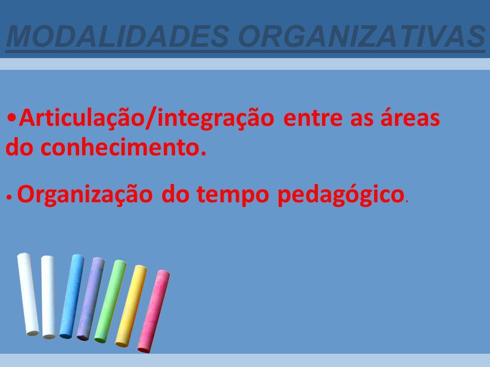 MODALIDADES ORGANIZATIVAS Articulação/integração entre as áreas do conhecimento. Organização do tempo pedagógico.