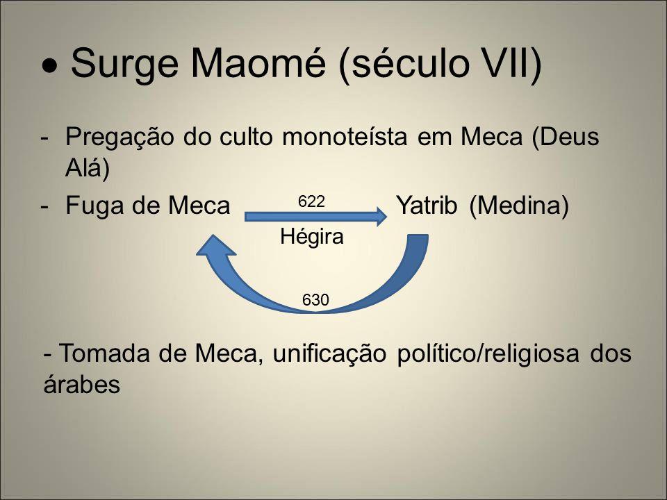  Surge Maomé (século VII) -Pregação do culto monoteísta em Meca (Deus Alá) -Fuga de Meca Yatrib (Medina) Hégira 630 - Tomada de Meca, unificação polí