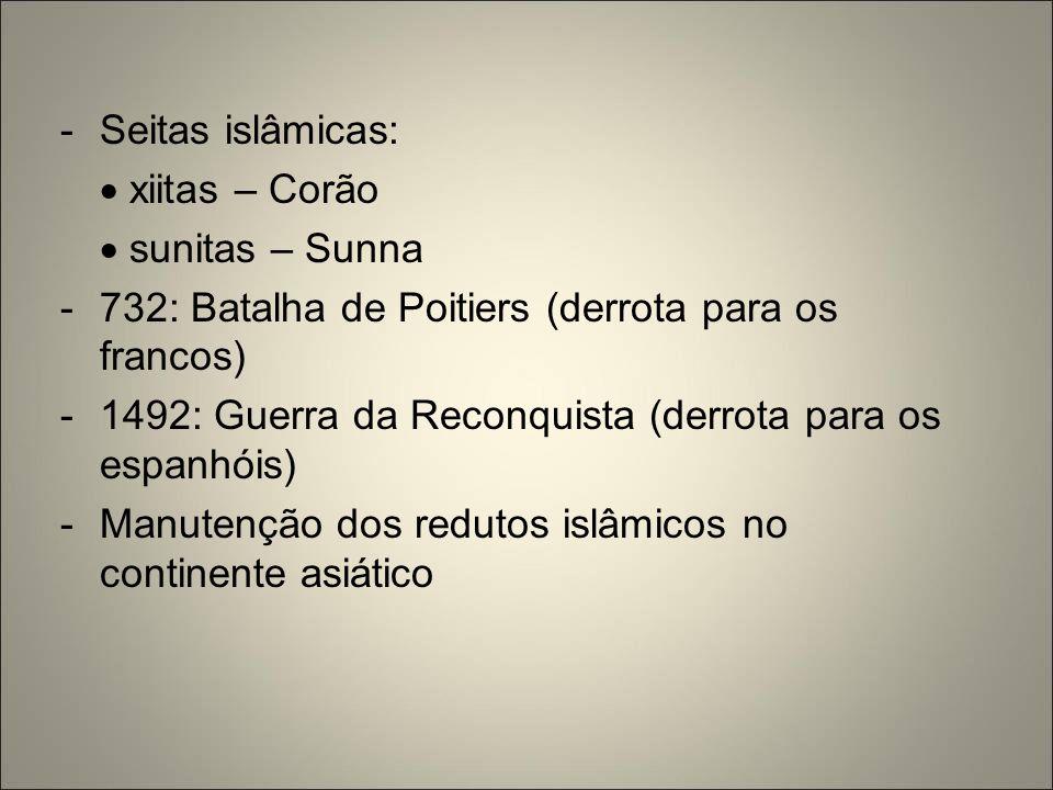 -Seitas islâmicas:  xiitas – Corão  sunitas – Sunna -732: Batalha de Poitiers (derrota para os francos) -1492: Guerra da Reconquista (derrota para o