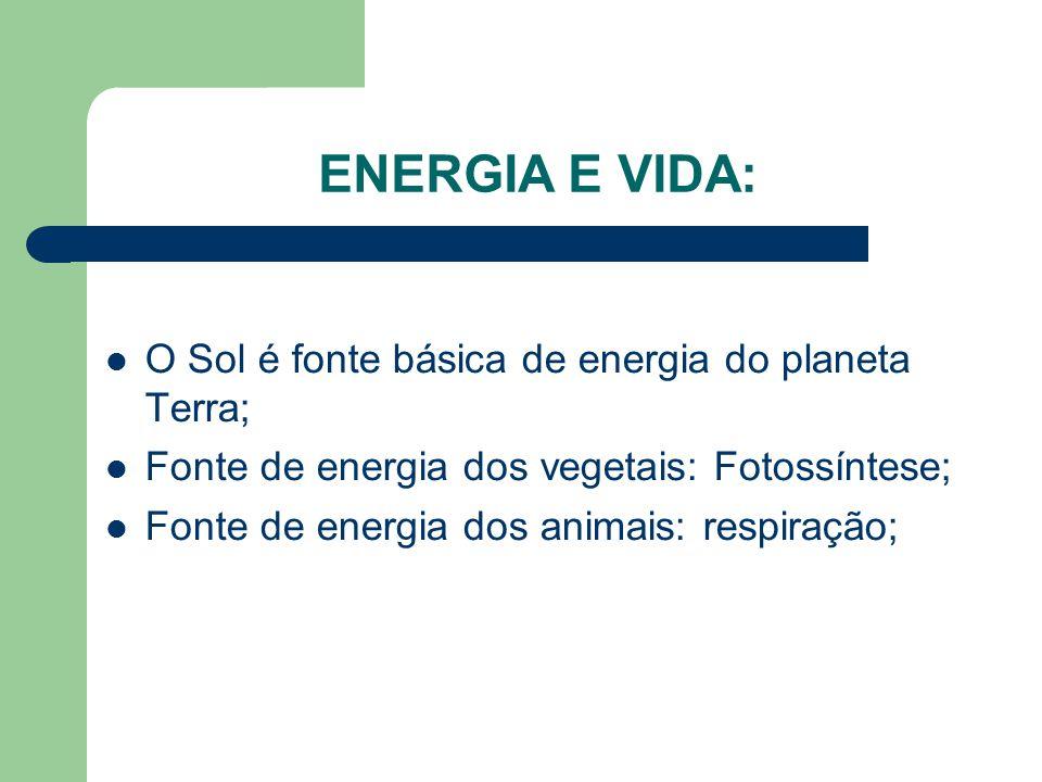 ENERGIA E VIDA: O Sol é fonte básica de energia do planeta Terra; Fonte de energia dos vegetais: Fotossíntese; Fonte de energia dos animais: respiração;