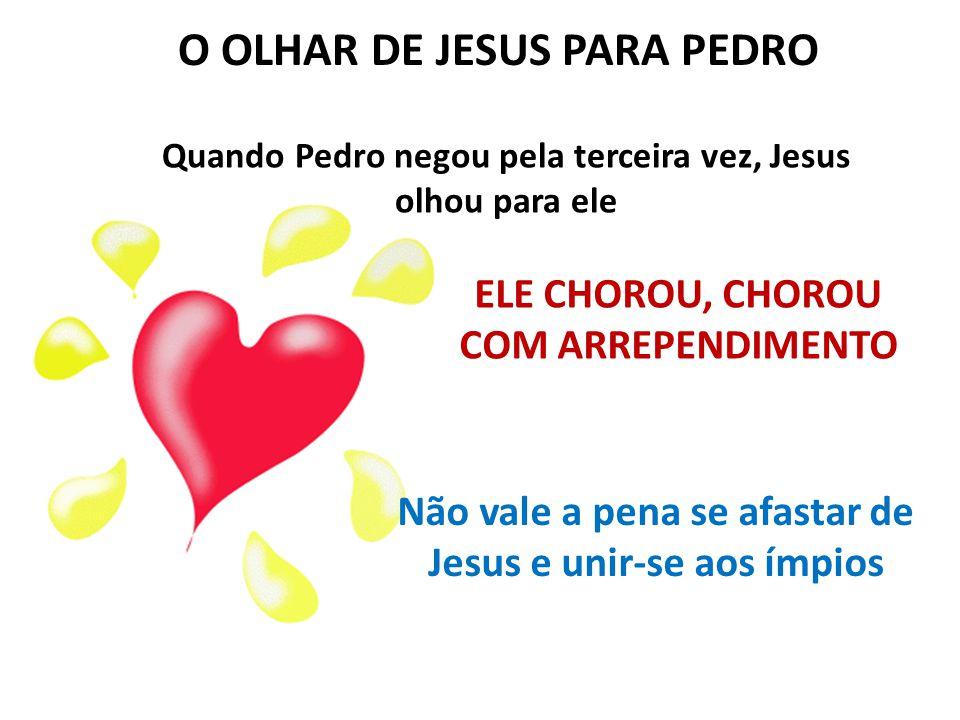O SENHOR JESUS VAI BUSCAR PEDRO E OS OUTROS DISCÍPULOS TODOS ESTAVAM TRISTES: - O que será de nós.